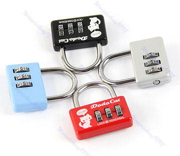 Mini 3 Digit Number Combination Luggage Suitcase Security Cable Lock Padlock