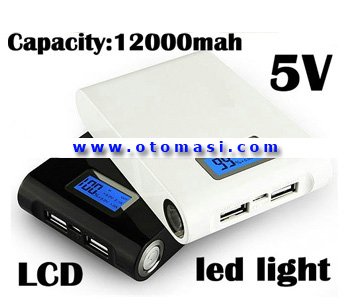 5V Dual USB Port Mobile Power Bank with 12000mAh, Out 5V 1000mA, with LCD Screen (NS-12000C)
