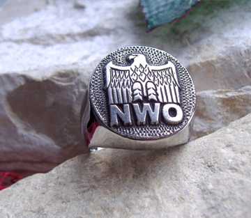 NWO New World Order Ring Surgical Steel Germany Iron Eagle - D79