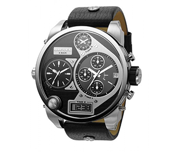Diesel DZ7125 Oversize SBA Four Time Zone Chronograph Black Leather Silver