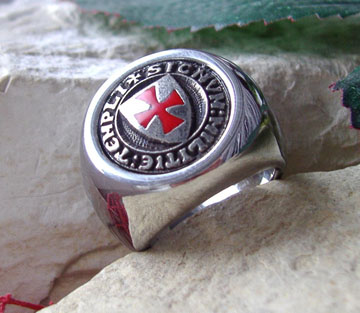 Original  AJS Knights Templar Ring Surgical Steel 316L Lodge Masonic Degree M2