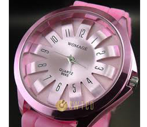 Analogue quartz hours clock best dial pink rubber unisex wrist watch WT090