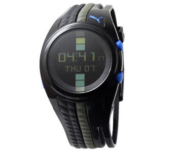 PUMA Men's PU910471004 Shift Black and Gun Blue Digital Watch