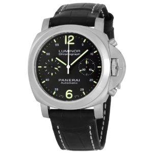 Panerai Men's M00310 Luminor Chrono Black Dial Watch