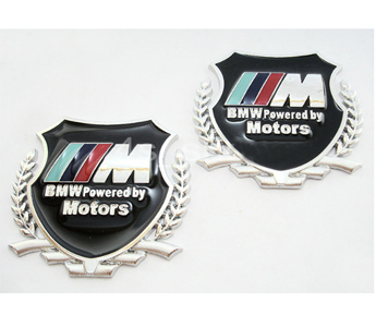 2 pcs Bmw///M Power Motors Logo Badge Emblem Deal Sticker Car Side Logo