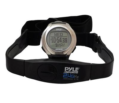 Pyle 2.4GHz Heart Rate Monitor W/ Coded Heart Rate Transmission, Step Counter, Distance, Calories Expenditure, Exercise Timer, 50 Lap Chronograph Memory, PC Link (PSWHRP58)