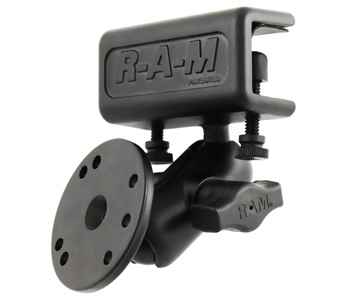 RAM Glare Shield Clamp Mount with Short Double Socket Arm and Round Base Adapter that contains the AMPs Hole Pattern (RAM-B-177-202U)