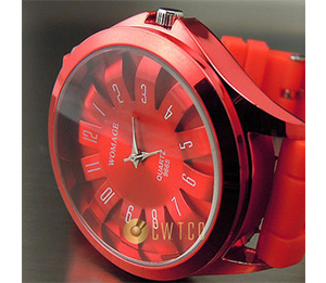 Analogue quartz hours clock best red rubber unisex wrist watch WT089