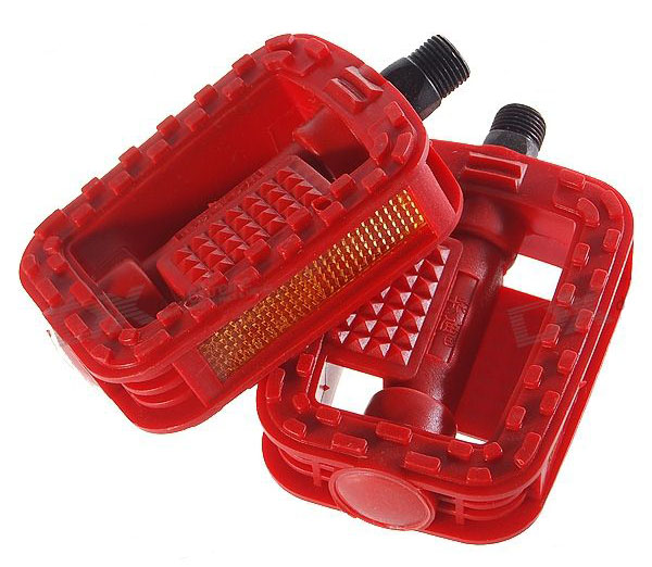 Replacement Plastic Bicycle Pedal (Pair / Red) type 4