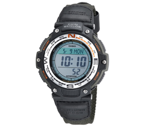 Casio Men's SGW100B-3V Digital Compass Twin Sensor Green Nylon B