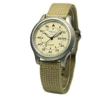 Seiko 5 Automatic Beige Fabric