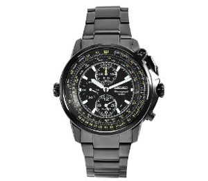 Seiko Men's SNAB69 Flight Master Stainless Steel Black Chronogra