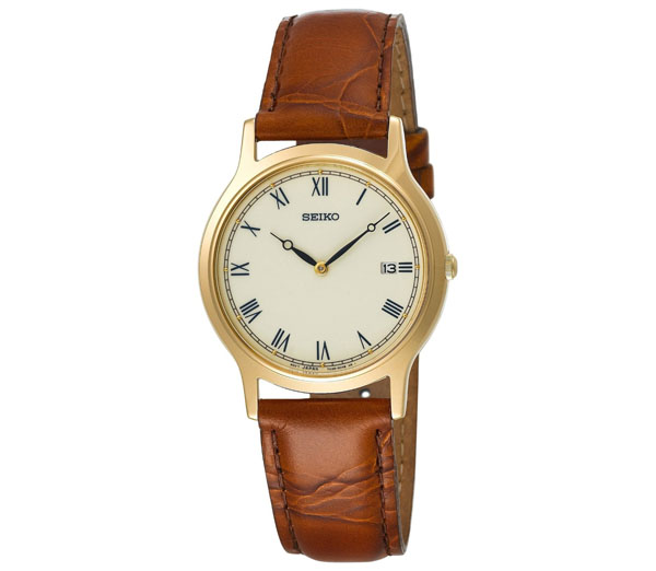 Seiko Men's SKP332 Dress Brown Leather Strap Watch