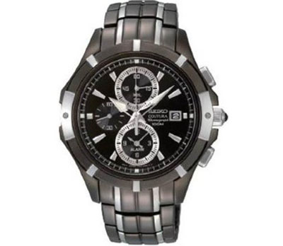Seiko Coutura Black Dia Dual-Tone Stainless Steel Band Mens Watc