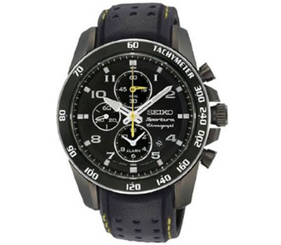 Seiko Sportura Black Dia Black Leather Band Mens Watch