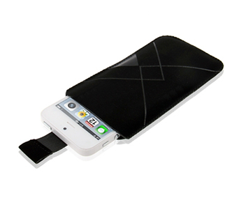 Soft Leather Case Pocket Pouch Sleeve Bag with Pull Tab for iPhone 5 (Black)