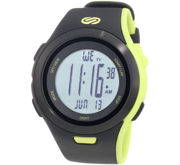 Soleus Men's SR010052 Ultra Sole Grey Digital Dial with Black and Lime Green Polyurethane Strap Watch