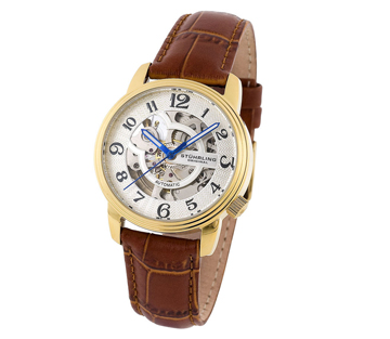 Stuhrling 107BL 1235T2 Delphi Oracle Auto Skeleton 23K Gold Plated Womens Watch