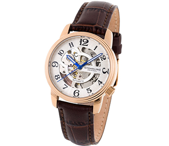 Stuhrling 107BL 1245K2 Delphi Oracle Automatic Skeleton Rose Gold Plated Watch