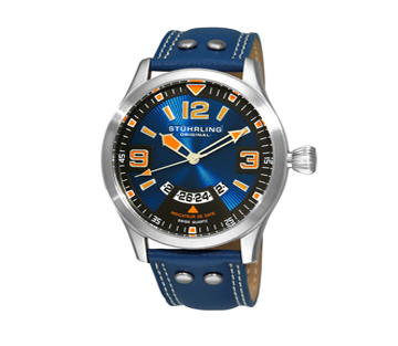 Stuhrling 141A 3315C98 Blue Eagle Swiss Pilot Date Leather Mens Watch