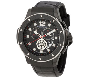 Stuhrling Original Men's 160F2.33551 Apocalypse Trinity Chronograph Black Ion-Plated Leather Watch