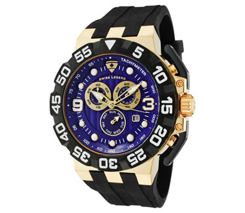 Swiss Legend Men's Challenger Chronograph Violet Blue Dial Gold