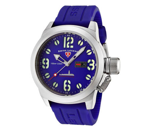 Swiss Legend Men's Submersible Violet Blue Dial Violet Blue Sili