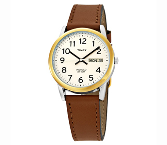 Timex Men's Easy Reader Brown Leather Strap Watch (T20011))