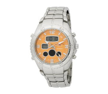 U.S. Polo Assn. Men's US8446 Analog-Digital Orange Dial Silver-T