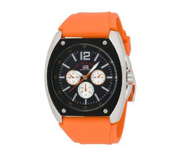 U.S. Polo Assn. Men's US9051 Black Dial Orange Rubber Strap Watc