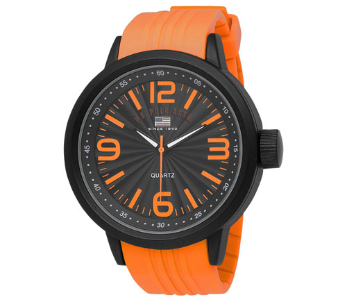 U.S. Polo Assn. Men's US9053 Black Dial Orange Rubber Strap Watc