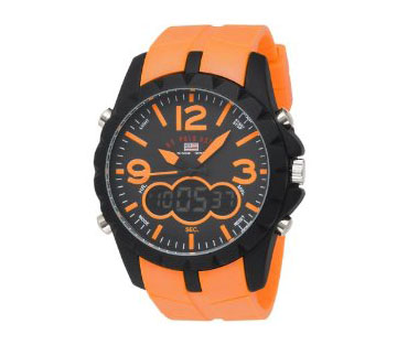 U.S. Polo Assn. Men's US9057 Analog-Digital Black Dial Orange Rubber Strap Watch