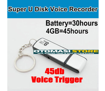 Voice trigger u disk voice recorder, build in 4GB memory can recorder 45hours, battery use 30hours