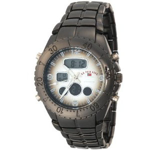 U.S. Polo Assn. Men's US8139 Gun Metal Analog-Digital Sporty Bra