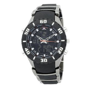 U.S. Polo Assn. Men's US8163 Analog-Digital Black Dial Gun Metal