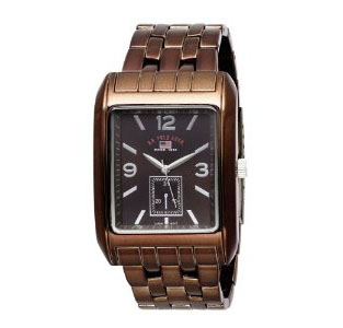 U.S. Polo Assn. Men's US8443 Brown Dial Spray Brown Plated Brace