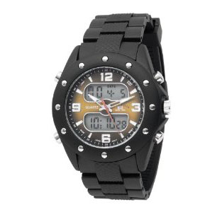 U.S. Polo Assn. Men's US9033 Analog-Digital Brown Dial Black Rub