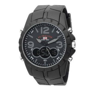 U.S. Polo Assn. US9058 Analog-Digital Black Dial Black Rubber Strap Watch