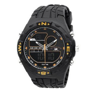U.S. Polo Assn. US9059 Analog-Digital Black Dial Black Rubber Strap Watch