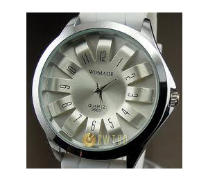 Analog quartz hours clock best dial white rubber unisex wrist watch
