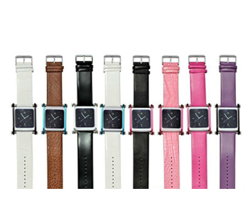 Aluminum + Leather Watch Bands for iPod Nano 6 (Beberapa Warna)