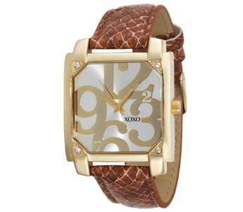 XOXO Women's XO3172 Silver Dial Brown Snake Strap Watch