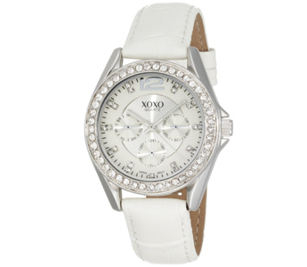 XOXO Women's XO3186 Rhinestone Accent Dial White Crocodile Strap Watch