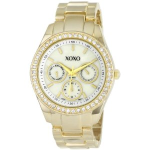 XOXO Women's XO5302A Rhinestone Accent Gold-Tone Bracelet Watch