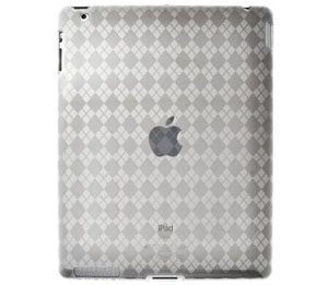 Amzer Luxe Argyle High Gloss TPU Soft Gel Skin Case for Apple iPad 2 (Clear)