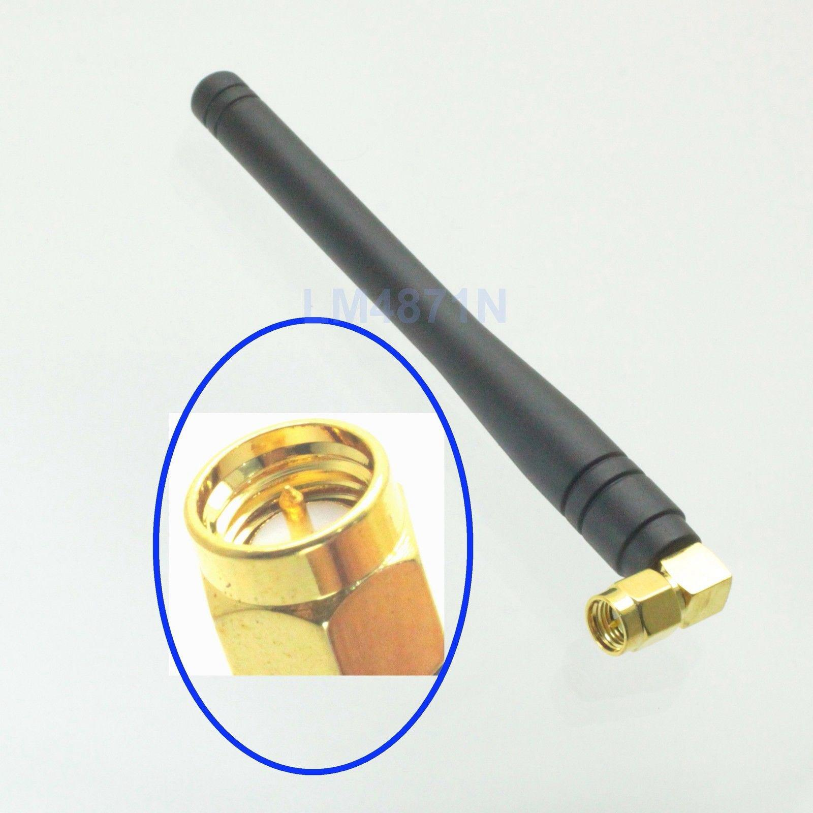 Antenna 433MHz GSM GPRS 90° SMA Male Plug Right Angle 10cm Gold